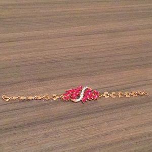 Jewelry - Pink & White Rhinestone Bracelet on gold tone NWOT